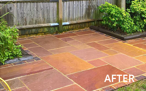 After image of patio after cleaning