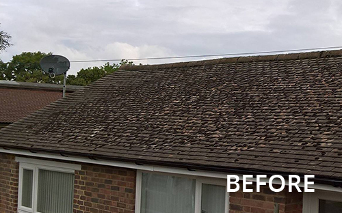 Before image of dirty roof